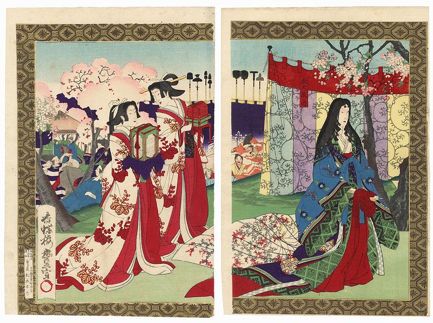 Hideyoshi Viewing Cherry Blossoms, 1883 by Toyonobu (1859 - 1886)