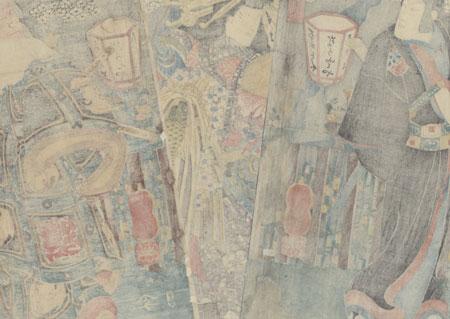 Sukeroku, Agemaki, and Ikyu in the Yoshiwara, 1850 by Kuniyoshi (1797 - 1861)