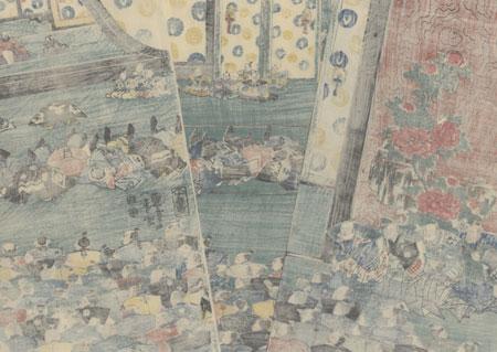 Fujiwara no Hidehira Holding Court, 1851 - 1852 by Kuniyoshi (1797 - 1861)