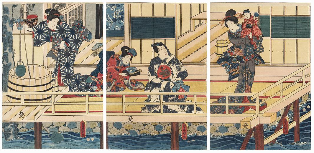 Morning on a Verandah, 1847 - 1852 by Toyokuni III/Kunisada (1786 - 1864)