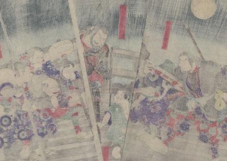Young Hideyoshi Demands an Apology from Hachisuka Koroku on Yahagi Bridge by Yoshitoshi (1839 - 1892)