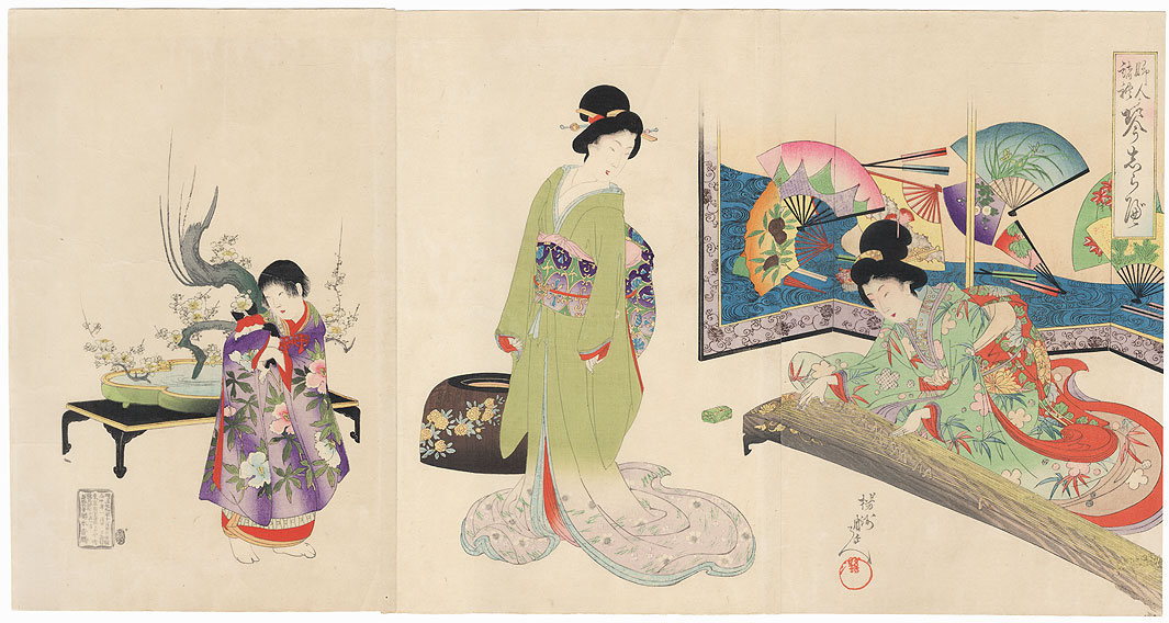 Beauty Playing the Koto, 1896 by Chikanobu (1838 - 1912)