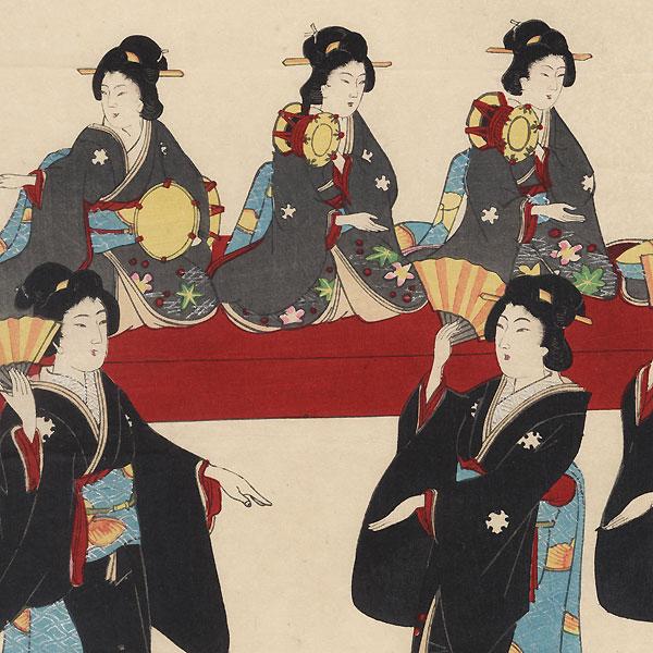Beauties Dancing, 1899 by Meiji era artist (unsigned)