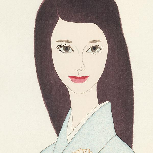 Beauty in a Daisy Print Kimono, 1966 by Keiichi Takasawa (1914 - 1984)