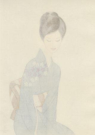 Beauty in a Blue Kimono, 1966 by Keiichi Takasawa (1914 - 1984)
