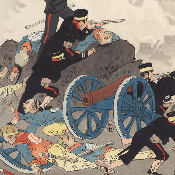 Overrunning a Chinese Gun Emplacement during the Sino-Japanese War by Kiyochika (1847 - 1915)