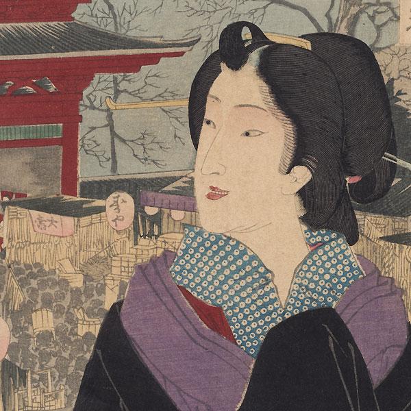 December: Kume of Shinbashi at the Year-end Festival at Asakusa, First Edition by Yoshitoshi (1839 - 1892)