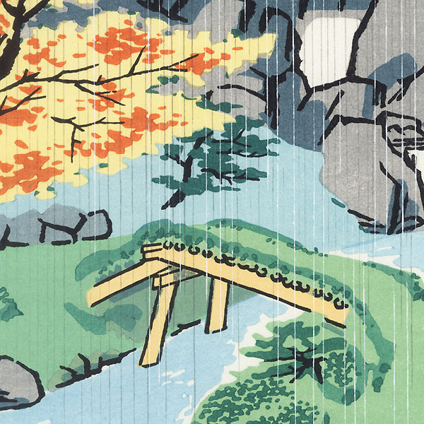 Autumn Rain at Sanpo-in by Tokuriki (1902 - 1999)