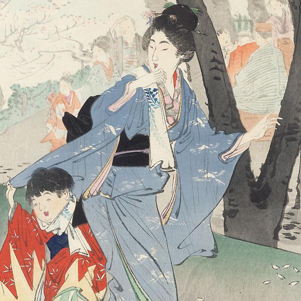 Cherry Blossoms at Azumadai by Gekko (1859 - 1920)