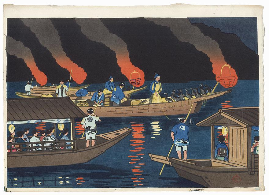 Gifu Nagaragawa Cormorant Fishing by Hiyoshi Mamoru (active circa 1950s)