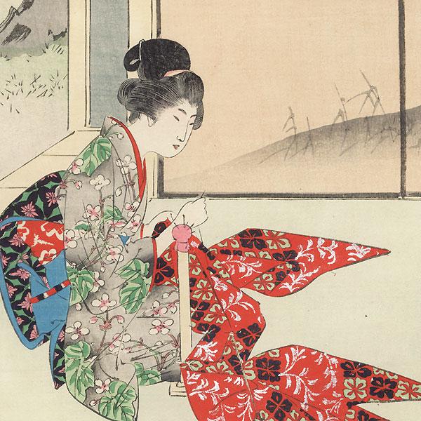 Sewing by Shuntei Miyagawa (1873 - 1914)
