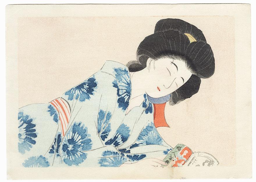Beauty Dozing while Reading by Hirezaki Eiho (1881 - 1970)