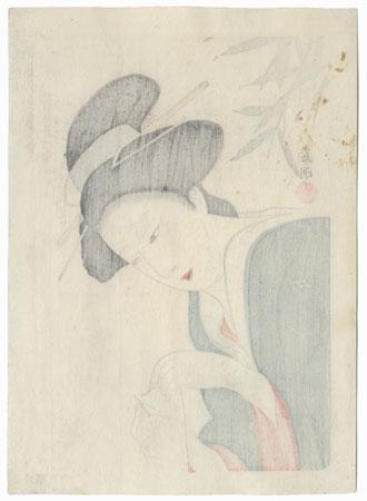 Beauty Threading a Needle by Hirezaki Eiho (1881 - 1970)