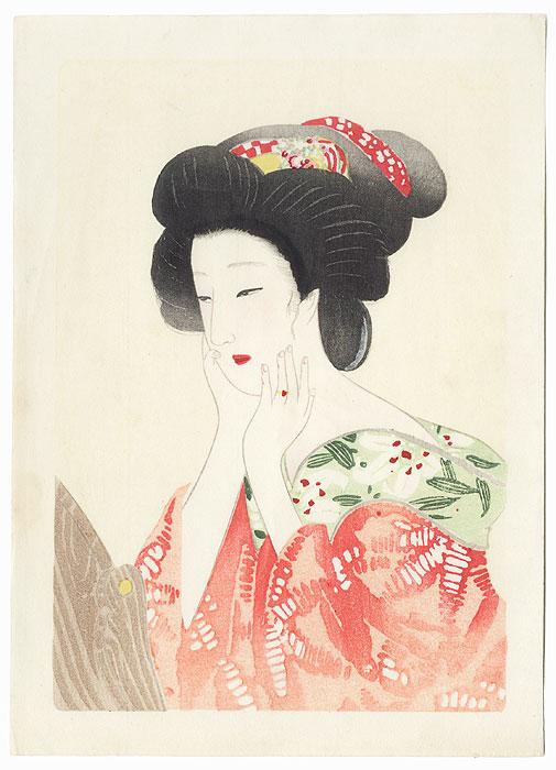 Beauty Looking in a Mirror by Hirezaki Eiho (1881 - 1970)