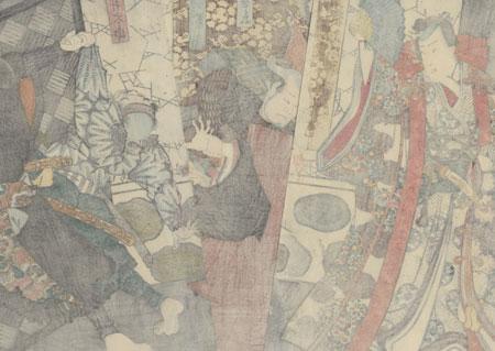 Rogue and Samurai Battling Attackers, 1856 by Toyokuni III/Kunisada (1786 - 1864)