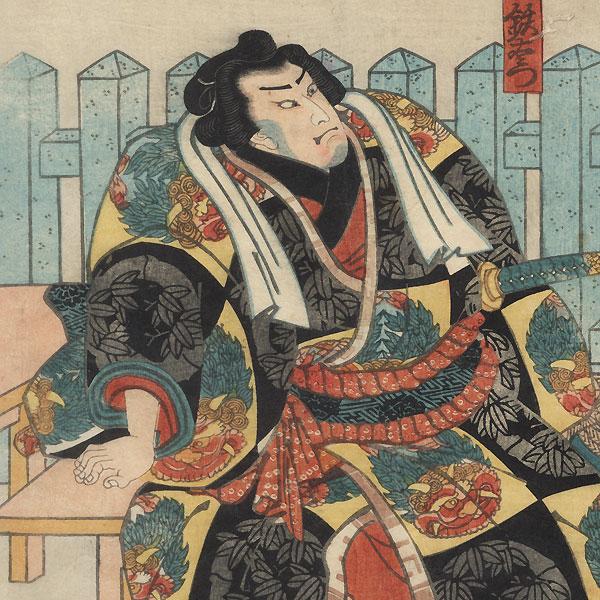 Sumo Wrestlers outside a Shrine, 1850 by Kuniyoshi (1797 - 1861)
