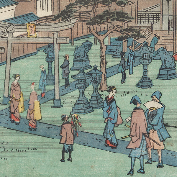 Myoken Hall at Yanagishima Bridge by Hiroshige II (1826 - 1869)