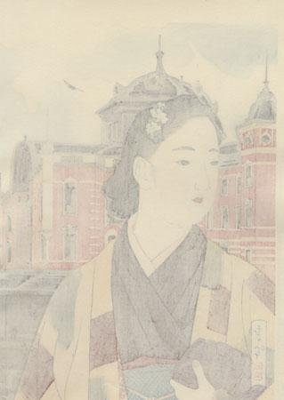 Tokyo Station at Present, 1942 by Yamakawa Shuho (1898 - 1944)