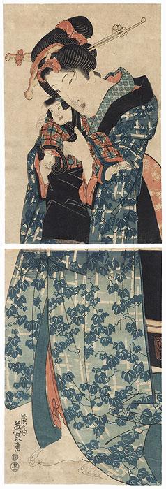 Beauty and Child Kakemono by Eisen (1790 - 1848)