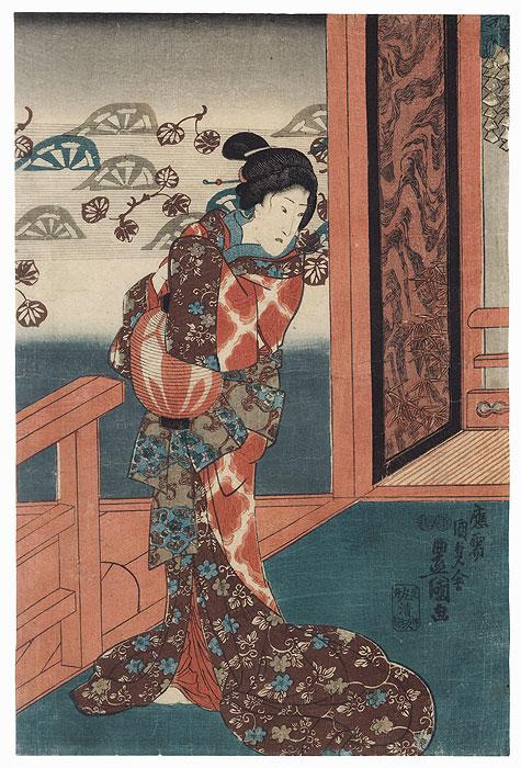 Beauty with a Lantern, 1847 - 1852 by Toyokuni III/Kunisada (1786 - 1864)