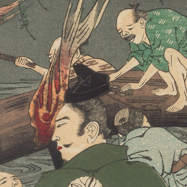 Aoto Fujitsuna Searching for Lost Coins in the Namerigawa River by Yoshiiku (1833 - 1904)