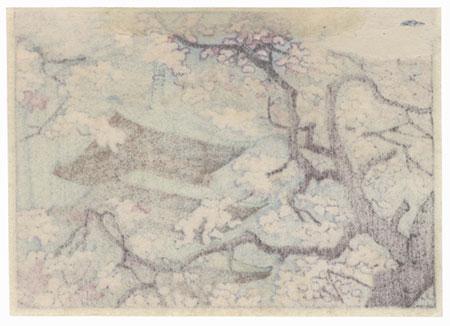 Cherry Blossoms and Pagoda by Shin-hanga & Modern artist (not read)