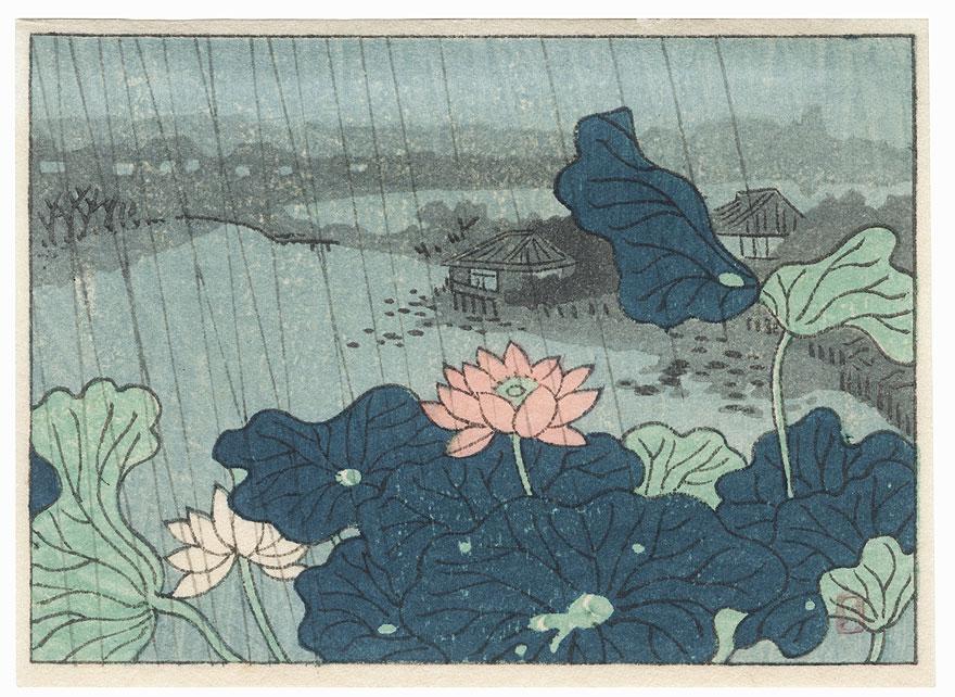 Rain at Shinobazu Pond by Shin-hanga & Modern artist (unsigned)