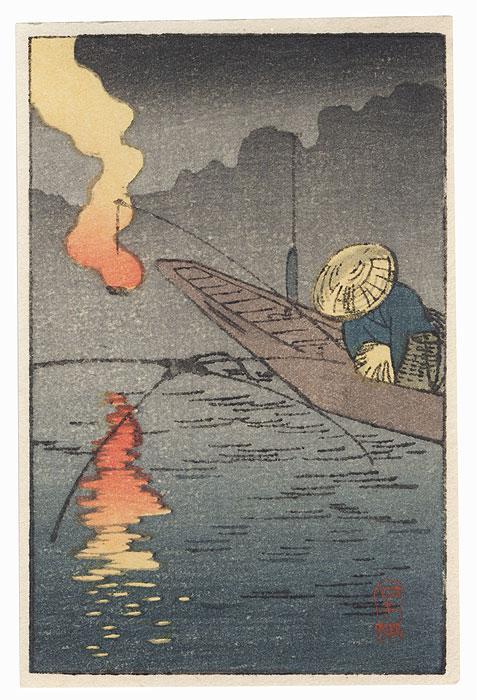 Fishing at Night by Shin-hanga & Modern artist (not read)