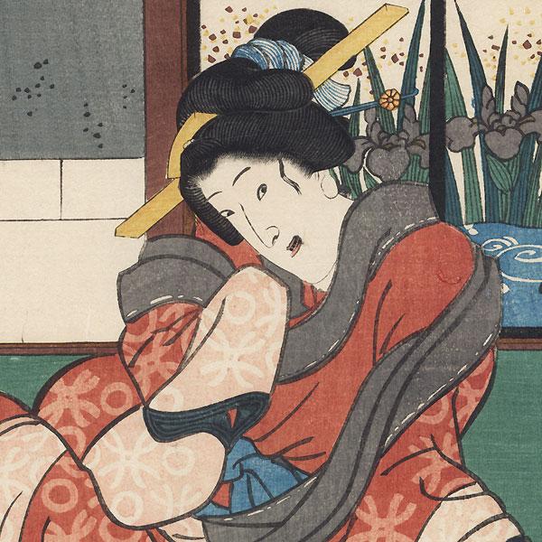 Iwai Kumsaburo as Yamana-ya Urazato and Nakamura Fukusuke as Kasuga-ya Tokijiro, 1857 by Toyokuni III/Kunisada (1786 - 1864)