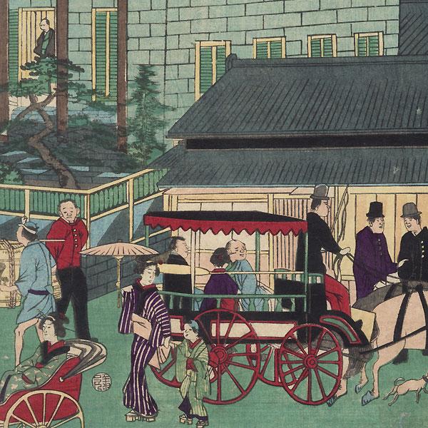 Rough Sketch of the Mitsui Exchange Bank at Kaiun Bridge, Kabuto-cho by Ikkei (active circa 1870s)