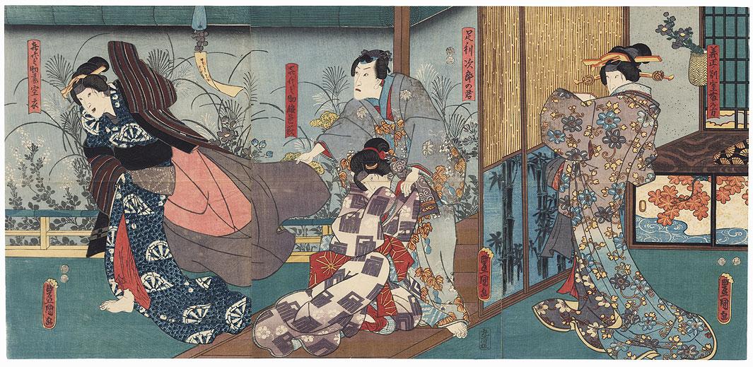 Beauty Fleeing a Nobleman, 1847 - 1852 by Toyokuni III/Kunisada (1786 - 1864)