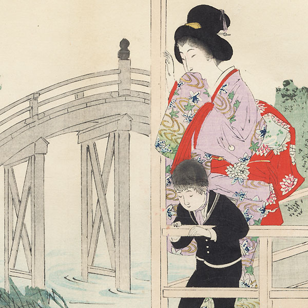 Koi and Wisteria at Kameido Shrine by Shuntei Miyagawa (1873 - 1914)