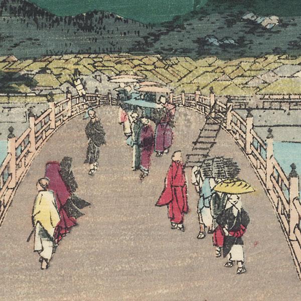 Kyoto: The Great Bridge at Sanjo by Hiroshige (1797 - 1858)