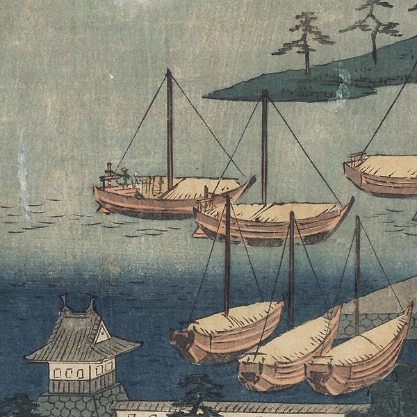 Miya: Shichiri Crossing, Gate of the Atsuta Shrine, and Nezame Village by Hiroshige (1797 - 1858)