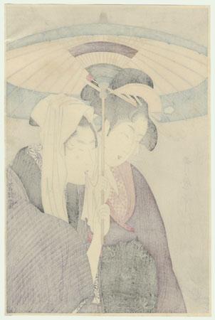 Young Lovers under an Umbrella by Utamaro (1750 - 1806)
