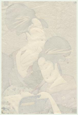 Two Beauties Reading by Utamaro (1750 - 1806)