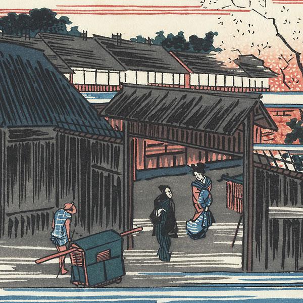 Cherry Trees at Dawn at New Yoshiwara  by Hiroshige (1797 - 1858)