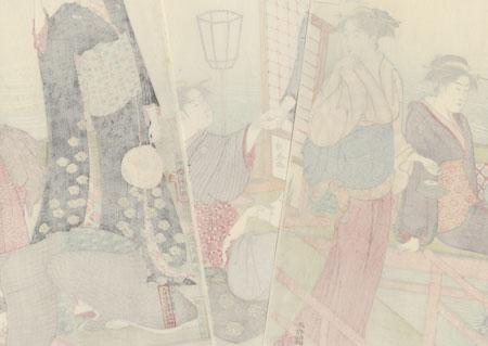 Enjoying the Cool of the Evening by the Shijo Bridge by Kiyonaga (1752 - 1815)