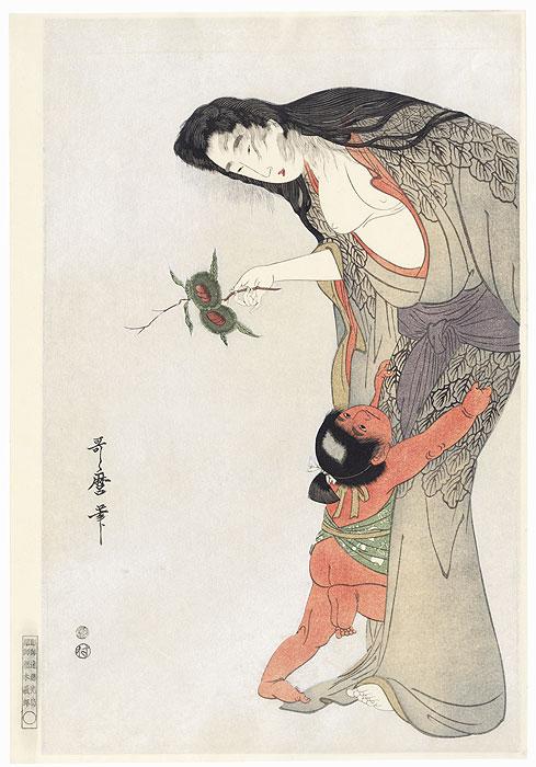 Kintaro and Yamauba Holding Chestnuts by Utamaro (1750 - 1806)