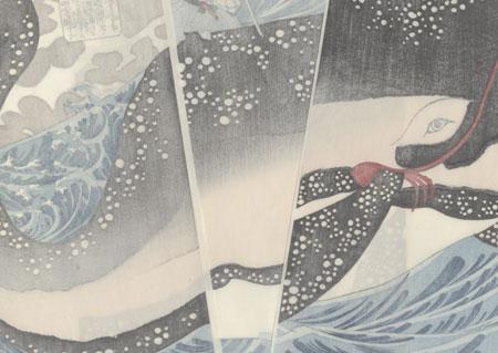 Miyamoto Musashi Attacking the Giant Whale by Kuniyoshi (1797 - 1861)